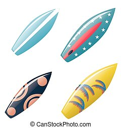 surfboards - a set of surfboards with a beautiful design on...