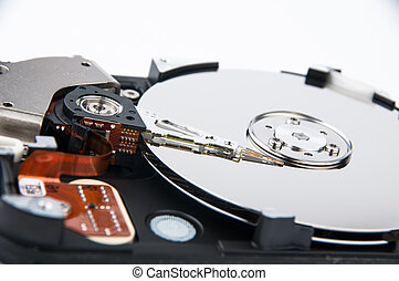 Hard disk drive - Inside photo of hard disk drive - closeup...