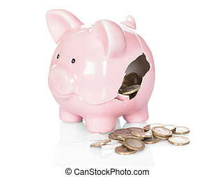 Broken Piggy Bank With Money Over White Background