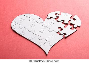 cassé,  Puzzle, fait, coeur