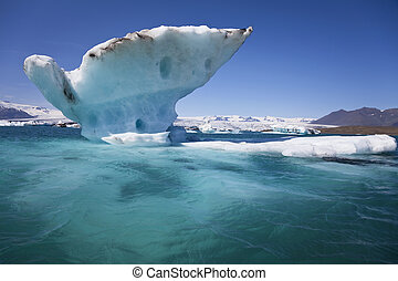 Melting Iceberg on the Lagoon, Jokulsarlon, Iceland - A...