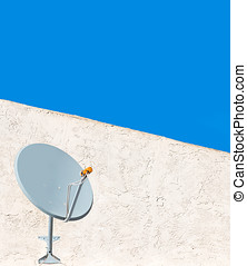 Home outdoor satellite dish antenna - Mounted on white...