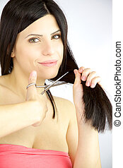 Woman ready to cut her long ruined hair