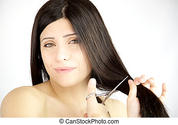 Woman not sure about cutting her long hair - Woman with...