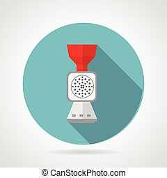 Flat vector icon for kitchen Mincer - Round blue vector icon...