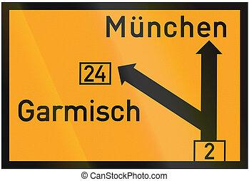 Direction Sign To Munich And Garmisch 1937 - Old design...