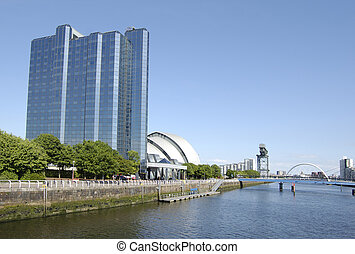 Glasgow-06-0108 - Blue hotel building and skyline from the...