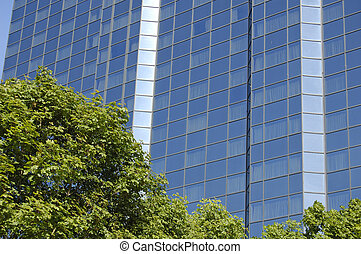 Glasgow-06-0109 - Trees in front of blue skyscraper in...