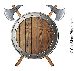 round wooden knight shield and two crossed battle-axes...
