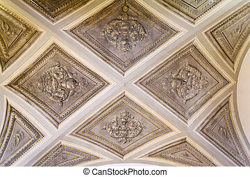 Renaissance ceiling in an old house. Florence, Italy