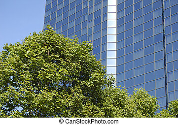 Glasgow-06-0110 - Trees in front of blue skyscraper in...