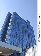 Glasgow-06-0114 - Blue glass walled hotel on the bank of the...