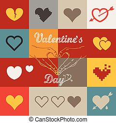 Different abstract heart icons collection. Valentine greeting ca