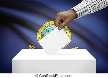 Voting concept - Ballot box with US state flag on background...