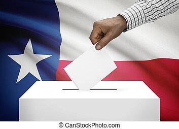 votando, conceito, -, VOTO, caixa, com, nós, estado,...