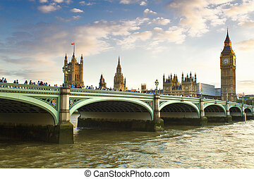 London - Houses of Parliament and Big Ben in Westminster,...