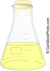 Flask - Erlenmeyer flask with cover and content