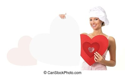 chef woman showing sign with heart