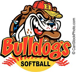 bulldog softball design with mascot