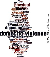Domestic violence word cloud concept. Vector illustration