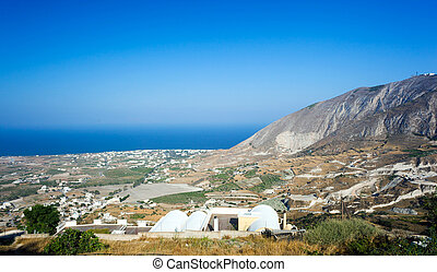 Landscape from Santorini island at the Cyclades in Greece