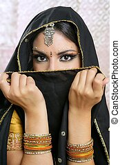 bonito, morena, rosto, pretas, Asiático, menina, véu