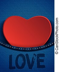 Valentines Day Heart in Jeans Pocke