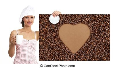 chef woman cup of coffee showing sign heart shape