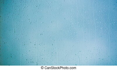 Beautiful Rain Drops running down a Window pane HD 1080