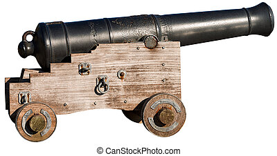 Old Cannon Isolated on White - Old naval cannon 1819,...