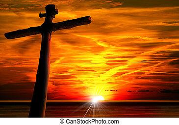 crucifixos, silueta, em, a, pôr do sol,