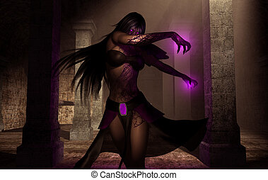 necromancer - creative 3d render of female necromancer...