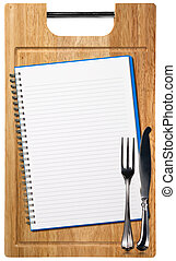 de madera, corte, cuaderno, tabla, vacío