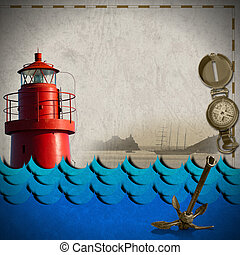 Adventurous Journeys Background - Red lighthouse, compass,...