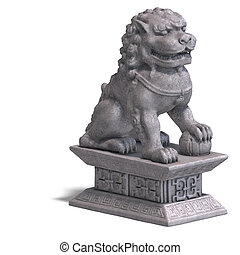 stone chinese foo dog - chines fu dog made out of stone 3D...