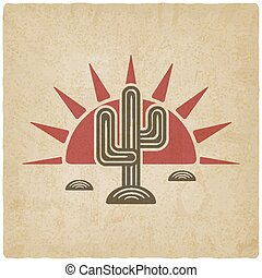 Desert cactus at sunset old background - vector illustration...