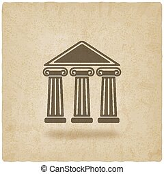 building with columns old background - vector illustration....