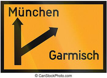 Direction Sign To Munich And Garmisch 1936 - Old design...
