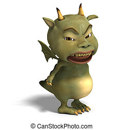 little green cute toon dragon devil - 3D rendering of a...