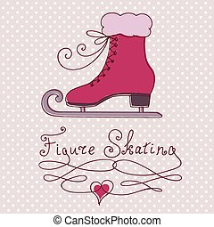 Vintage greeting card with skate - Dotted background and...