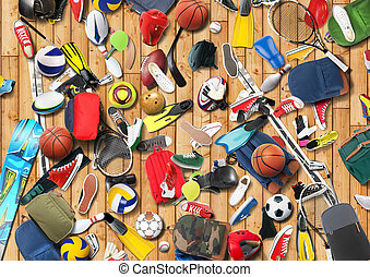 Sports equipment has fallen down in a heap in the gym