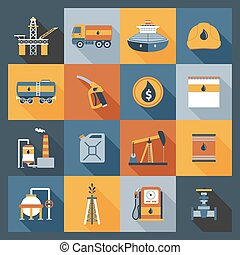 Oil Industry Icons Flat - Oil industry drilling gas terminal...