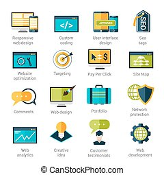 Web Development Icons Set - Web development icons set with...