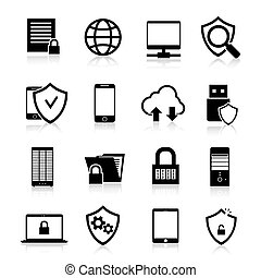 Data Protection Icons - Data protection computer and web...