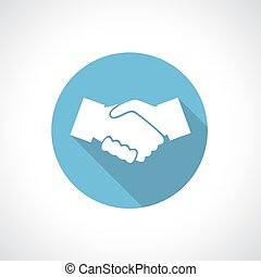 Hands shake icon with shadow. Square icon. Flat modern...