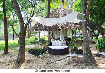 Furniture for spa and thai massage in garden