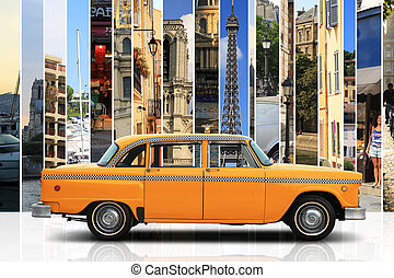 Taxi, retro car orange color