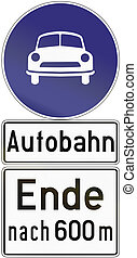 Autobahn Ende 1971 - Old design 1971 of a German sign...