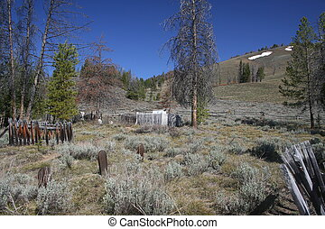 Ghost Town Cemetary - Image of a ghost town cemetary in the...