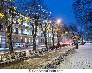 NIght view of Riga street in Christmass time